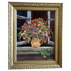 V Rajkovich, Vivid Orange Poppies Wild Flower Arrangement in Pitcher Vase Still life Oil Painting Signed By Artist