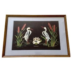 Two Cranes in a Pond with a Water Lily Flower and Cattail Reeds 1935 Oil Painting on Silk