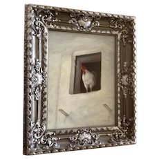 Ch (Chola) Lainez, Adorable Rooster Standing in Window Original Oil Painting on Board Signed by Listed Spanish Artist