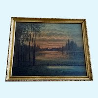 F Larson Sunset Landscape 19th Century Watercolor Painting