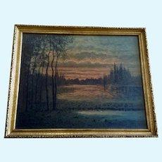 F Larson Sunset Landscape 19th Century Watercolor Painting