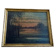 F Larson Sunset Landscape 19th Century Watercolor Painting Signed by Artist