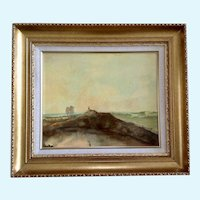 C Hargrave, Landscape of Figural on Dirt Mound Above Pond Oil Painting