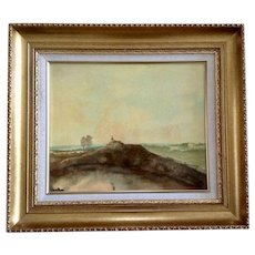 C Hargrave, Landscape of Figural on Dirt Mound Above Pond Oil Painting Signed by Artist