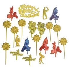 Vintage Plastic Spring Cupcake Picks Cake Decorations Toppers Yellow Suns, Easter Greetings Group