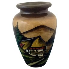 Vintage German Wooden Decorative Vase with Countryside Mountain Landscape Scene
