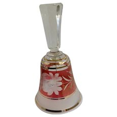 Bohemia Crystal Floral Etched Stained Ruby Red Flashed Cut to Clear Glass Bell