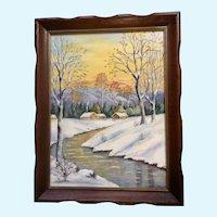 L Ferguson, Rural Snow Covered Winter Landscape Oil Painting 1942