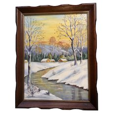L Ferguson, Rural Snow Covered Winter Landscape Oil Painting Signed by Artist 1942