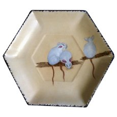 Vintage Hand Painted Rats Polygon Plate C. S. Prussia Suhl-Mäbendorf 1882 and 1918