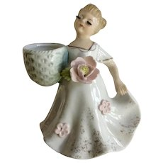 Enesco Big Eyelash Girl Figurine with Basket and Pink Flowers on Her Dress FC Planter Vase