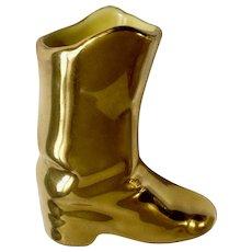 Dixon Art Studios 22Kt Gold Western Cowboy Boot Golden Shoe Porcelain Figurine Vase