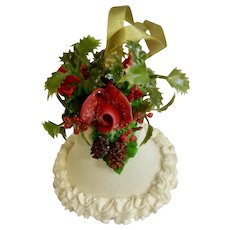 Christmas Sugar Bell with Red Roses Mid-Century