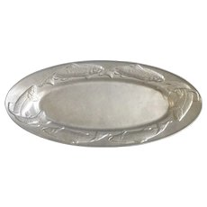 The Wilton Co. Armetale Pewter Metal Trout and Salmon Fish Creel Oval Serving Platter RWP Hollowware