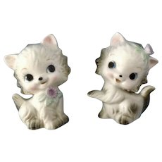 Vintage Kitty Cat Kitten Salt and Pepper Shakers Animal S&P Figurines Bone China Made in Japan
