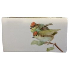 1987 Birds Hand Painted Porcelain Napkin or Letter Holder Signed By Artist Ruby Laughlin