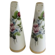 Royal Stuart Salt and Pepper Shakers Porcelain S&P Fine Bone China Pink Rose Figurines England