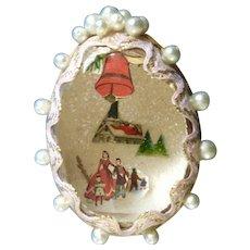 Adorable Mid-Century Folk Art Gold Decorated Egg Christmas Tree Glitter Decoration Diorama
