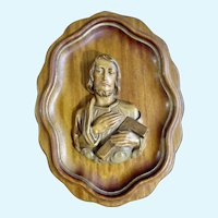 Vintage Jesus Icon Holding Carpenters Square Devotional Hand Carved Wall Plaque Italy