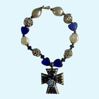 "Eccentric Silver-tone Vivid Blue Necklace Rose on a Cross Necklace 17"""