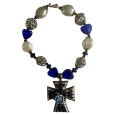 """Big Silver and Vivid Blue Necklace with a Rose on a Cross Necklace 17"""" Costume Jewelry"""