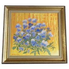Bernt Peter Moren, Blue Pansy Flowers Oil Painting Signed By Sweden Artist