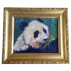 Eoin O Connor Panda Bear Animal Oil Painting Signed By Irish Artist