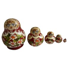 Small Russian Nesting Dolls Wooden Hand Painted Babushka Signed By Artist Caruel Tiocag