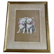 Two White Husky Puppies Oil Painting on Satin signed by Artist 1920's