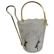 Art Nouveau Lady Nude Dancers with Champagne Bubbles Frosted Glass Ice Bucket