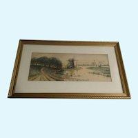 Robert Pease Windmills Watercolor Works on Paper 1929