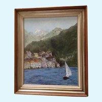 Jane Parker Colorful Shoreline with Sailboat Landscape Oil Painting