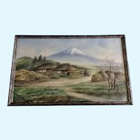 Katsukawa, Japanese Village with Mt Fuji Landscape Watercolor Gouache Painting on Silk