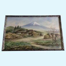 Katsukawa, Japanese Village with Mt Fuji Landscape Watercolor Gouache Painting on Silk