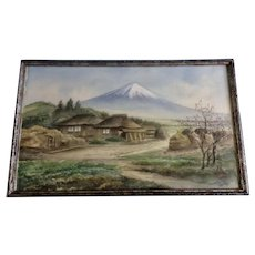 Katsukawa, Japanese Village with Mt Fuji and Blooming Cherry Tree Landscape Watercolor Gouache Painting on Silk Signed by Artist