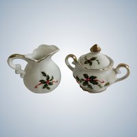 Lefton China Miniature Pitcher Cream and Covered Sugar Bowl Christmas Holly 03033 03027 Japan