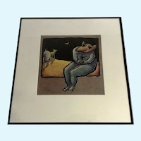 Christine Brennan Surreal Anthropomorphic Wolf Holding Flower Looking at Moon Oil Painting
