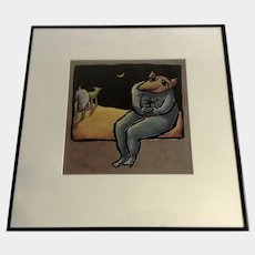 Christine Brennan Surreal Anthropomorphic Wolf Holding Flower Looking at Moon Oil Painting on Paper Signed by Listed Artist
