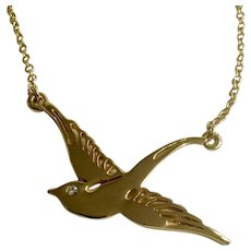 """Gold-Tone Swallow Bird Necklace With Rhinestone Crystal Eye Cookie Lee Costume Jewelry 17-3/4"""""""