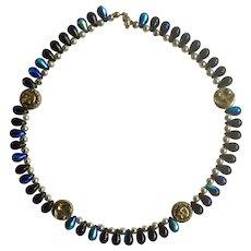 "Iridescent Tear Drop Aurora Borealis Beads with Celestial Sun, Moon and Stars Choker Necklace 14-1/4"""