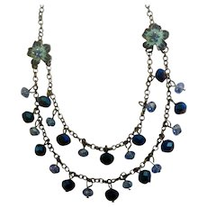 """Dangling Blue Beads and Rhinestone Flowers Silver-Tone Chain Necklace Costume Jewelry 19"""""""