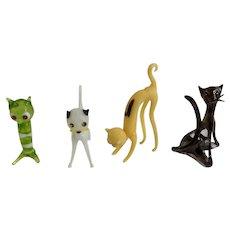 Art Glass Cats Crystal Eyes Austrian Hand Made Kittens Figurines Group