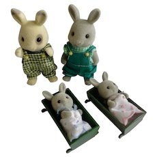 Calico Critters Anthropomorphic Bunny Rabbits Maple Town Dads & Two Toddler Sylvanian Figurines 1985 Epoch Taiwan