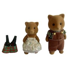 Calico Critters Anthropomorphic Father and Daughter Fox Family Maple Town Sylvanian Figurines 1985 Epoch Taiwan