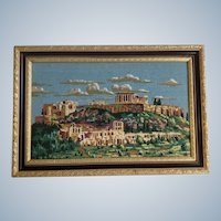 Athens Greece Parthenon Hand Cross Stitched Embroidery Needlepoint Framed Picture