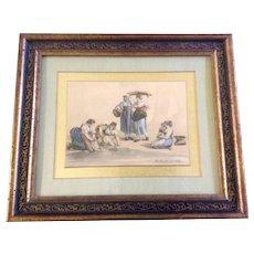 Bartolomeo Pinelli (November 20, 1781 – April 1, 1835)  Color Enhanced Watercolor Hand-Coloured Print Italian