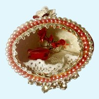 Rare Chocolates in Velvet Red Heart Box & Flowers Decorated Egg Miniature Diorama For Valentine's Day