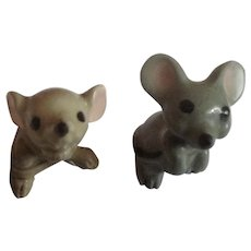 Mama Mouse #08 and Mouse Baby #008 1960's Hagen Renaker Miniature Mice Animal Figurines Retired