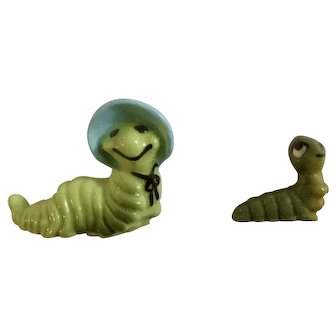 Mama Caterpillar #251 and Straight Tail Baby Worm #119B Hagen Renaker Discontinued Miniature Animal Figurines
