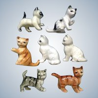 Alley Kitty Cats Bone China Figurines Seven Miniature Animals